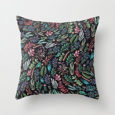 water color garden at nigth Throw Pillow