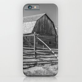 Barn in Wyoming Black and White Gifts iPhone Case