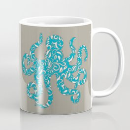 Octopus filled with Floral Vine Print - Turquoise on Brown Striped Background Coffee Mug