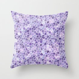 Lilac Cobbled Patchwork Terrazo Pattern Throw Pillow