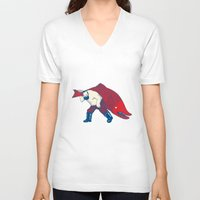 fish V-neck T-shirts featuring Big Fish by Andrew Henry