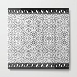 Greek Key - Grey Lace Metal Print