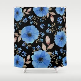 Blue flowers with black Shower Curtain