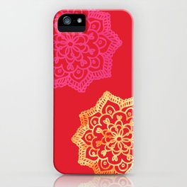 Happy bright lace flower - red iPhone Case