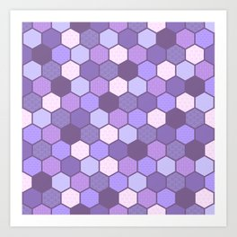 Galactic Hexagons in Purple Art Print