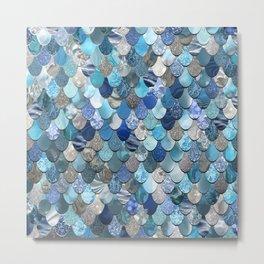 Mermaid Art, Ocean Blue Pattern Metal Print