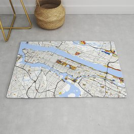 New York City Map United States Mondrian color Rug