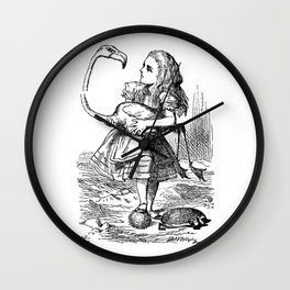 Vintage Alice in Wonderland flamingo croquet antique book drawing emo goth illustration art print  Wall Clock