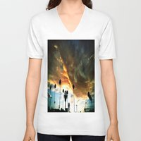 hollywood V-neck T-shirts featuring HollyWood Clouds!!! by Arturo Garcia