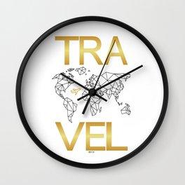 Gold TRAVEL Wall Clock