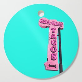 Cha-Cha's Tacos Retro Vintage Pink Sign Cutting Board