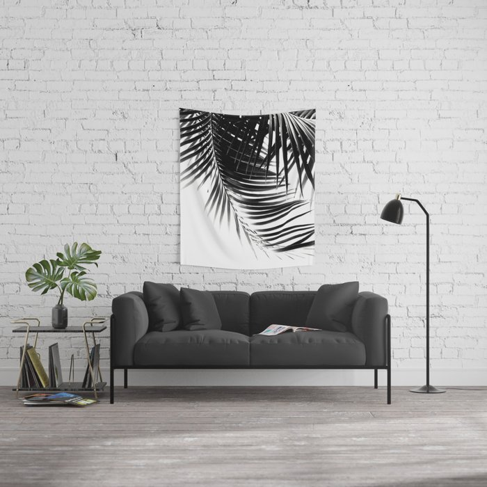 Palm Leaves Black & White Vibes #1 #tropical #decor #art #society6 Wall Tapestry