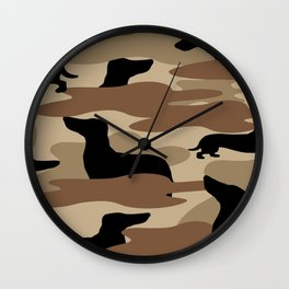 Desert Camo Weiner Dogg Wall Clock