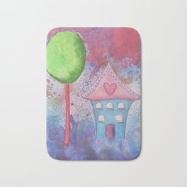 Whimsical House Watercolour Bath Mat