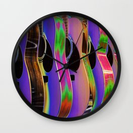 Colorful Acoustic Guitars Wall Clock