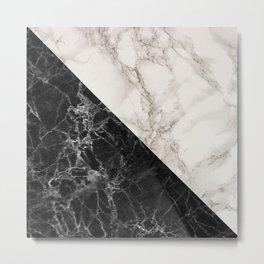 Black and white marble decor Metal Print
