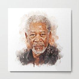 Morgan Freeman Low Poly Design Metal Print