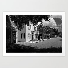 B&W Side Street Charleston S.C. Art Print