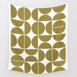 Mid Century Modern Geometric 04 Flat Gold Wall Tapestry