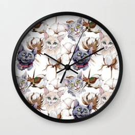 Cotton Flower & Cat Pattern 02 Wall Clock