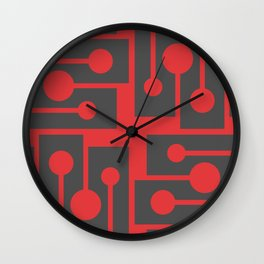 Red angles and dots. Clear geometric shapes.  Wall Clock