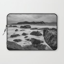 Rocky Ocean Black And White Laptop Sleeve
