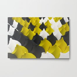 Black, white and yellow twisted pyramids Metal Print