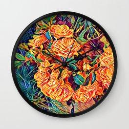 Red Orange Valentine Flowers Wall Clock