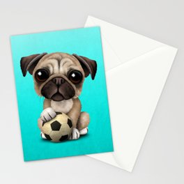 Cute Pug Puppy Dog With Football Soccer Ball Stationery Cards