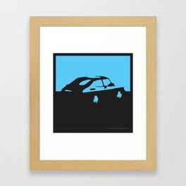 Saab 900 classic, Light Blue on Black Framed Art Print