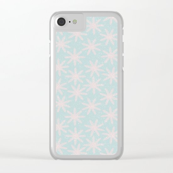 Merry christmas- pink snowflakes and snow on aqua backround Clear iPhone Case