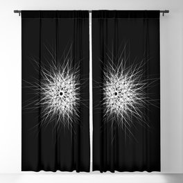 Minimalist white geometric lines mandala star Blackout Curtain