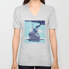 Ship background Unisex V-Neck