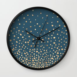 Chic Gold and Teal Rising Confetti Wall Clock
