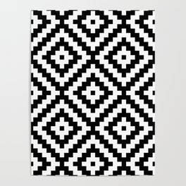 Aztec Block Symbol Ptn BW II Poster