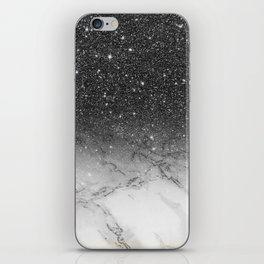 Stylish faux black glitter ombre white marble pattern iPhone Skin