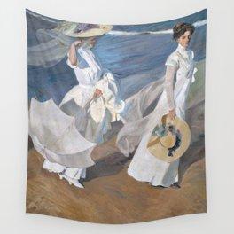 Joaquín Sorolla y Bastida - Strolling along the Seashore Wall Tapestry