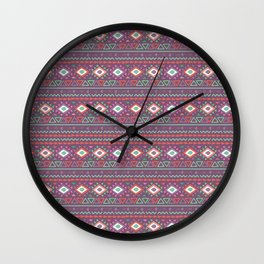 Abstract pink red green hand painted geometrical tribal pattern Wall Clock