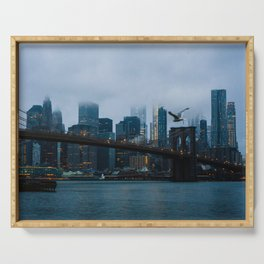 New York City skyline in the fog Serving Tray