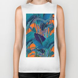 BLUE & CORAL PATTERNED TROPICAL JUNGLE  LEAVES ART Biker Tank