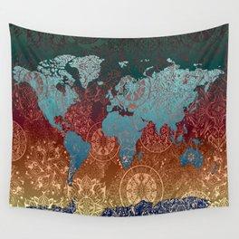 world map mandala vintage Wall Tapestry