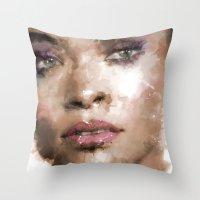 rihanna Throw Pillows featuring Rihanna by Dnzsea