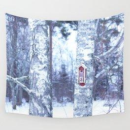Red Bird House in Winter White Scene #decor #society6 #buyart Wall Tapestry