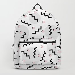 Old School Retro Funky Memphis 80's Pattern Black White Grey Pink Backpack