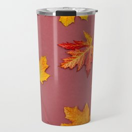 Autumn fallen leaves on claret background Travel Mug