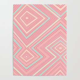 Pink, Green, Yellow, and Peach Lines - Illusion Poster