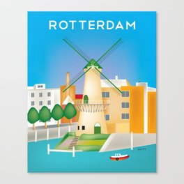 Rotterdam, Holland - Skyline Illustration by Loose Petals Canvas Print