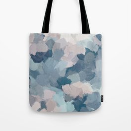 Mint Aqua Navy Indigo Blue Blush Pink Abstract Painting, Modern Wall Art Paint Strokes Random Tote Bag