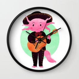 Axolotl with mariachi costume playing the guitar, Digital Art illustration Wall Clock