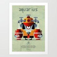 aquarius Art Prints featuring AQUARIUS by Angelo Cerantola